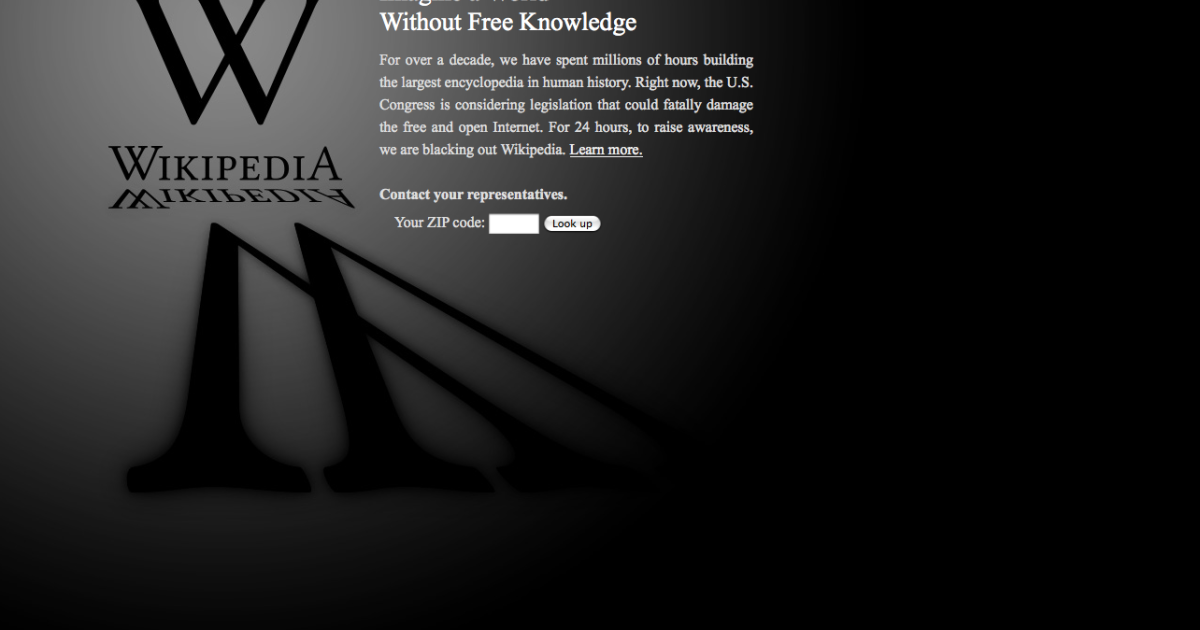 Wikipedia protested anti-piracy bills by shutting down on January 18, 2012.</p>