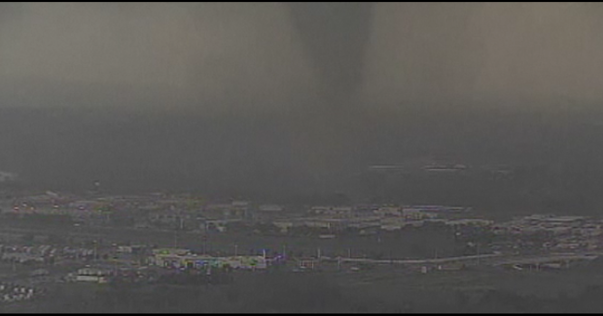 This still image taken from a broadcast by an NBC News affiliate shows a tornado which touched down in Dallas in early April, 2012.</p>