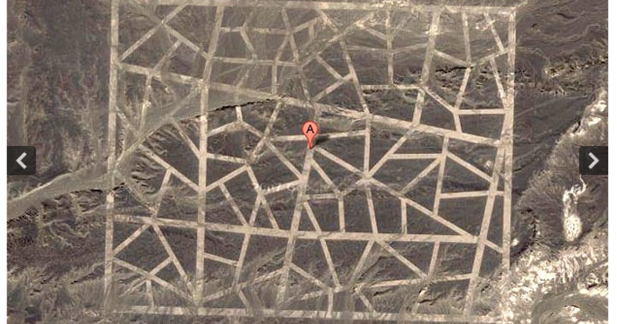 Google Earth image near the borders of Gansu province and Xinjiang, some less than 100 miles from the headquarters of China's space program.</p>
