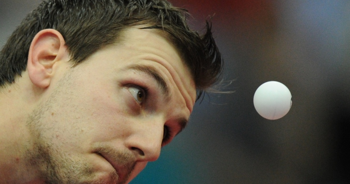 Timo Boll of Germany during the men's final at the 2010 World Team Table Tennis Championships in Moscow on May 30, 2010.</p>