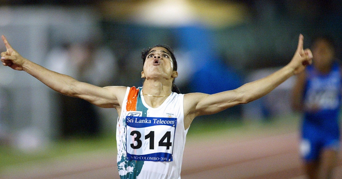 Indian athlete Pinki Pramanik celebrates after winning the women's 400m final at the 10th South Asian Games in Colombo, 25 August 2006.</p>