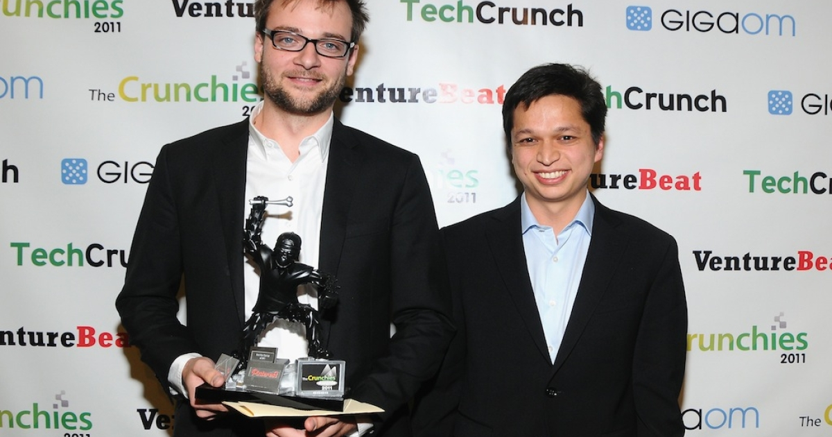 Pinterest, winners of the Best New Startup Award pose backstage at the 5th Annual Crunchies Awards at Davies Symphony Hall on Jan. 31, 2012 in San Francisco, California.</p>
