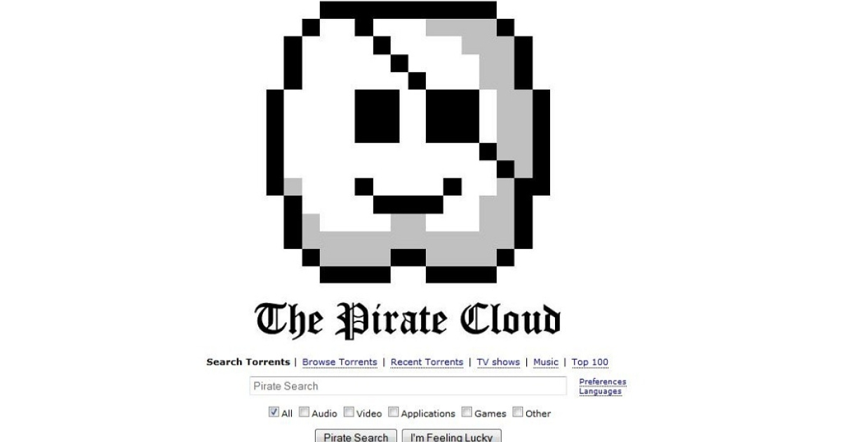 The new homepage at thepiratebay.se announcing the site's move from physical servers to cloud networks around the world.</p>