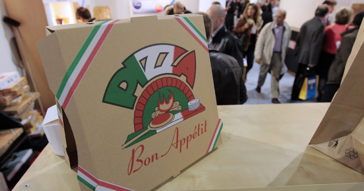 A box of pizza is shown on March 31, 2010 during the Pizza & Pasta expo, part of the