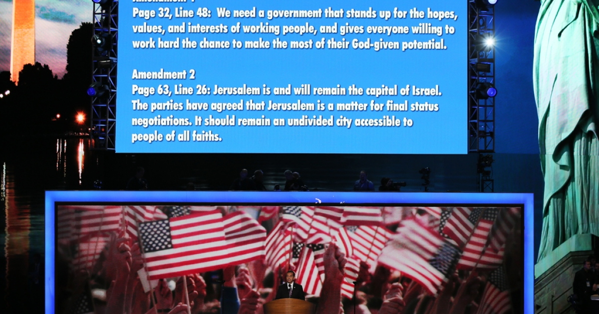 DNC Chair Los Angeles Mayor Antonio Villaraigosa brings an amendment to the platform during day two of the Democratic National Convention at Time Warner Cable Arena on September 5, 2012 in Charlotte, North Carolina.</p>