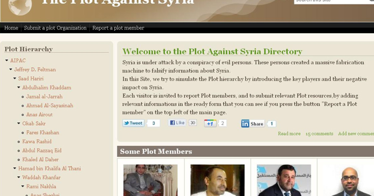 "Supporters of the Assad regime have archived Syrian pro-democracy activists they say are driving an ""evil conspiracy.""</p>"