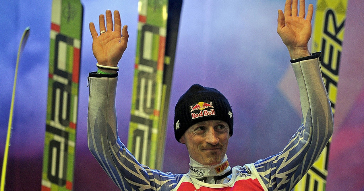 Polish ski jumper Adam Malysz greets fans during his farewell event in Zakopane, Poland on March 26, 2011. Malysz braved a heavy snowfall, refusing to skip his chance to bow out in the air in his homeland, where he is a sporting icon, despite the poor conditions.</p>