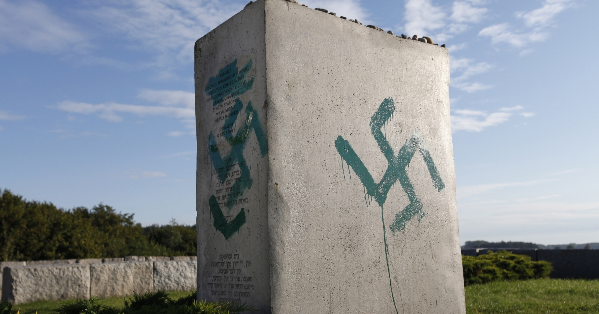 A monument commemorating the pogrom of Jews elsewhere in Poland in the village of Jedwabne, is found vandalized on Sept 1. Unknown offenders demolished the stone fence of the monument.</p>
