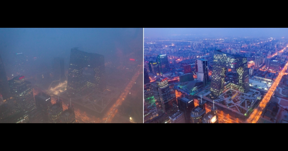 This combination of photos shows (L) the Beijing skyline during severe pollution on January 14, 2013, and the same view (R) taken during clear weather on Febuary 4, 2012. Dense smog shrouded the city with pollution at hazardous levels for a fourth day and residents were advised to stay indoors.</p>