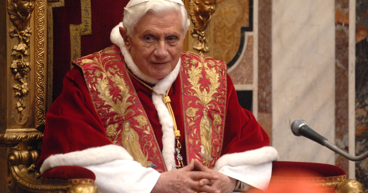 Pope Benedict XVI attends his annual meeting with Holy See Diplomats at the Hall of the Throne on Jan. 9, 2012 in Vatican City, Vatican.  (Photo by Stefano Carofei-Pool/Getty Images)</p>