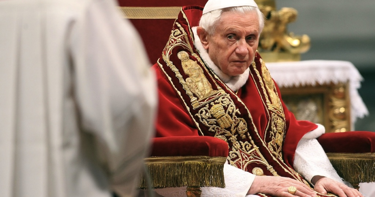 Pope Benedict XVI attends his fourth concistory at the Saint Peter's Basilica on February 18, 2012 in Vatican City, Vatican. The 84 year old Pontiff installed 22 new cardinals during the ceremony, who will be responsible for choosing his sucessor. (Photo by Franco Origlia/Getty Images)</p>