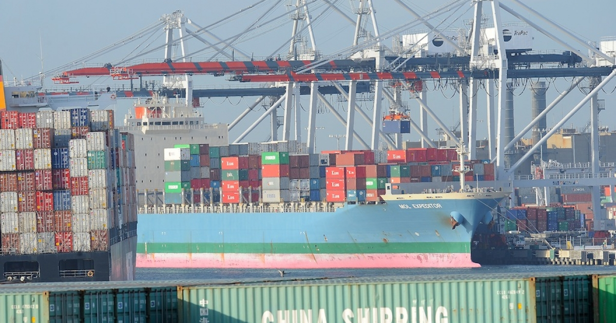 A container is off loaded from a ship at the Port of Los Angeles in San Pedro, California on May 12, 2010. A worker strike has shut the ports of Los Angeles and Long Beach for four days.</p>