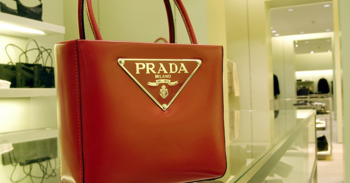 A handbag is on display inside a Prada store in Rome.</p>