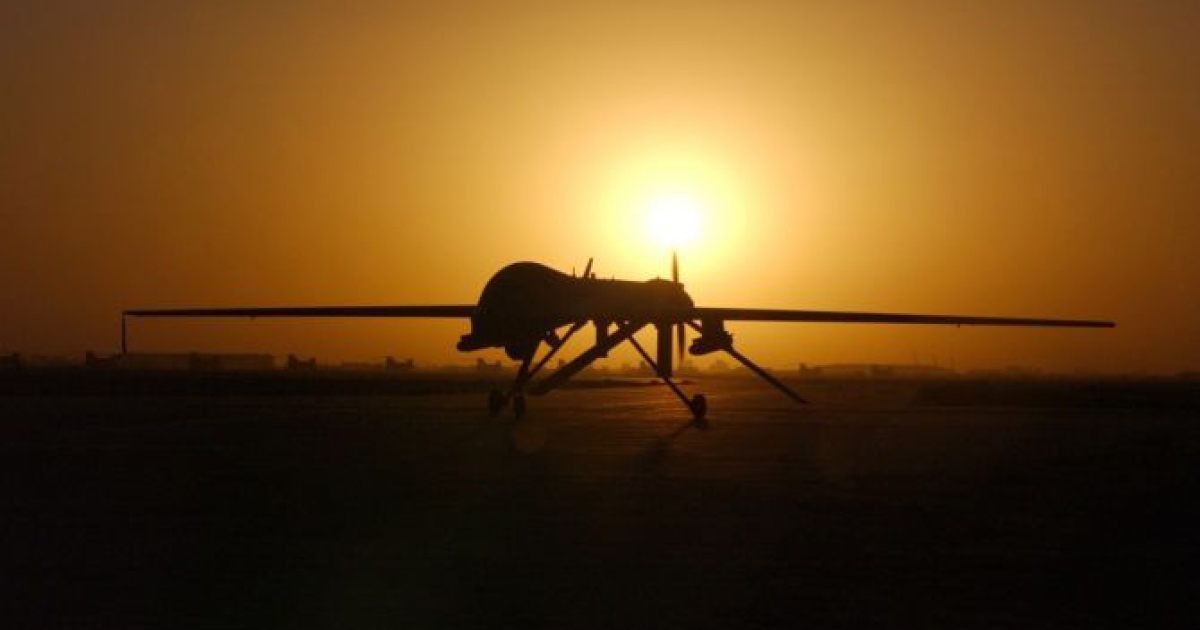 The RQ-1 Predator drone lands at Balad Air Base in Iraq after a sortie on Sept. 15, 2004.</p>