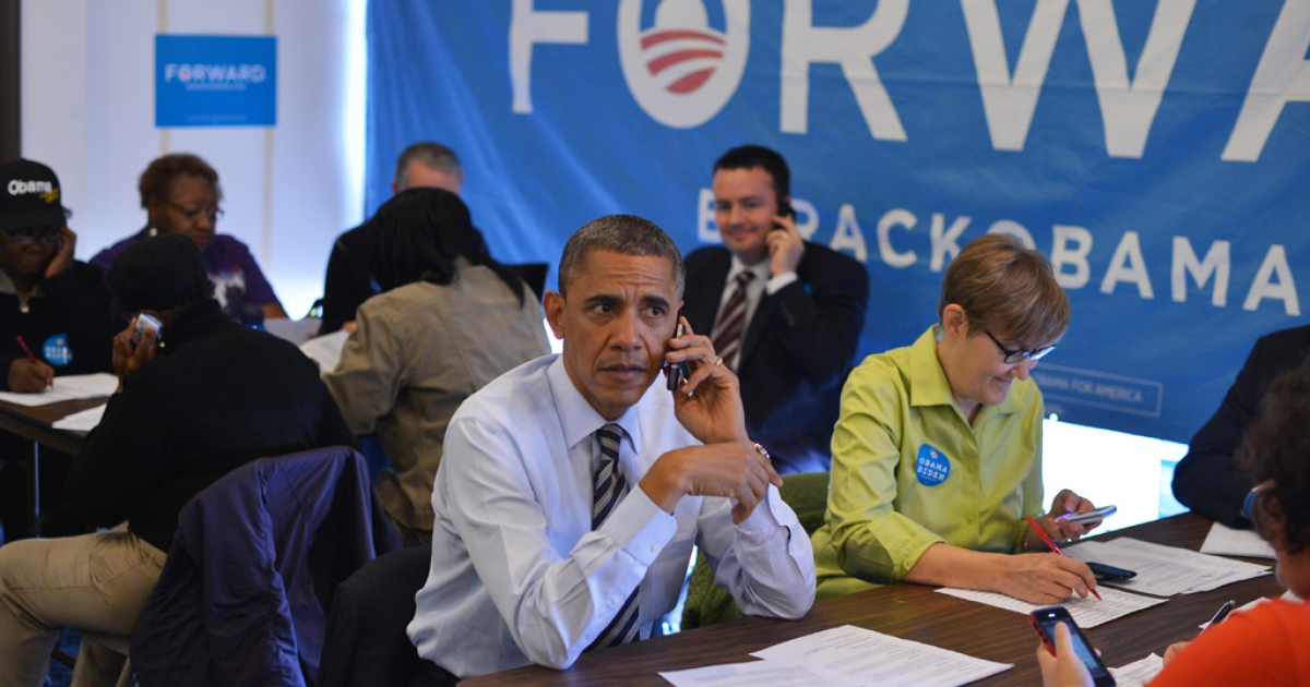 US President Barack Obama calls a volunteer from a campaign office in Chicago, Illinois, on election day, November 6, 2012.</p>