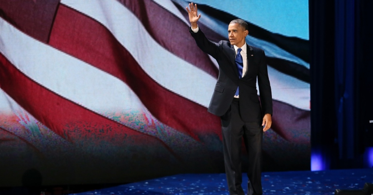 U.S. President Barack Obama delivers his victory speech after being reelected for a second term at McCormick Place November 6, 2012 in Chicago, Illinois.</p>