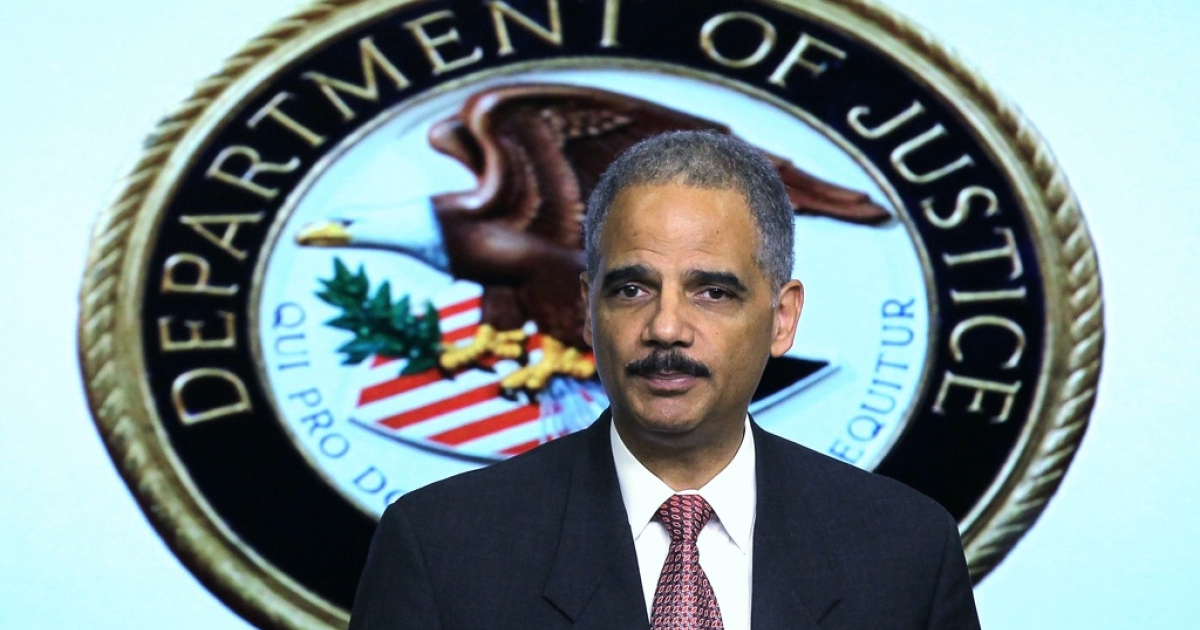 U.S. Attorney General Eric Holder speaks during an event November 29, 2011, at the South Court Auditorium of the Eisenhower Executive Office Building of the White House in Washington, DC.</p>