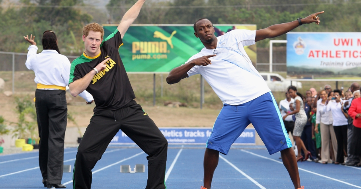 KINGSTON, JAMAICA - MARCH 06:  Prince Harry poses with Usain Bolt at the Usain Bolt Track at the University of the West Indies on March 6, 2012 in Kingston, Jamaica. Prince Harry is in Jamaica as part of a Diamond Jubilee Tour, representing Queen Elizabeth II, taking in Belize, the Bahamas, Jamaica and Brazil.</p>