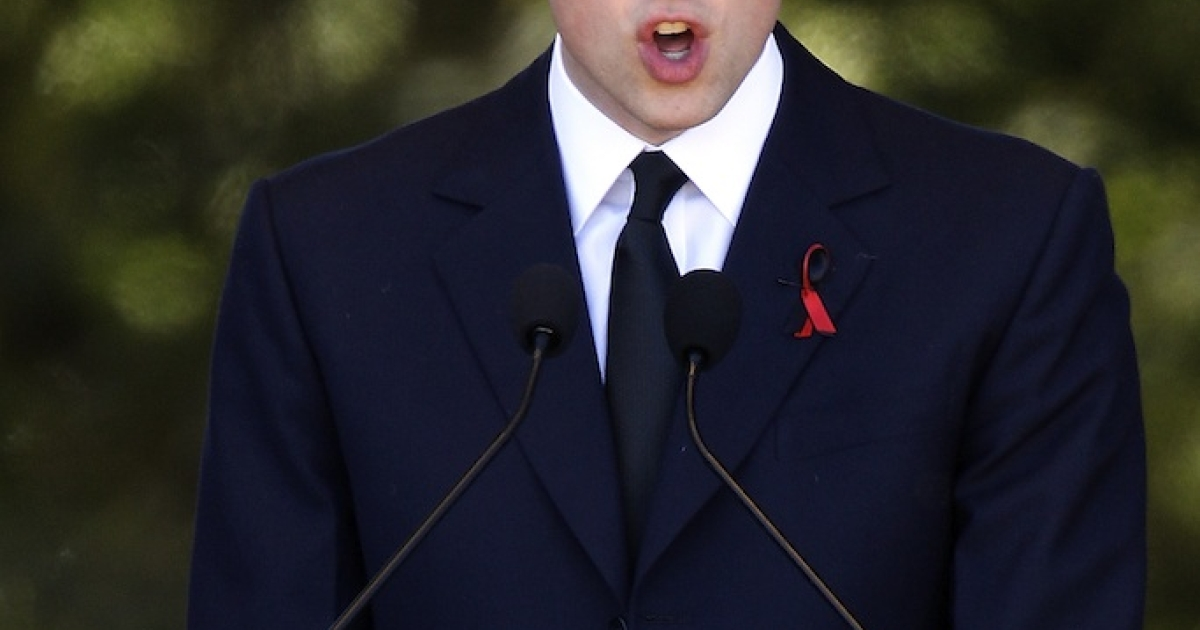 Prince William speaks at a memorial service on March 18, 2011, in Christchurch, New Zealand.</p>