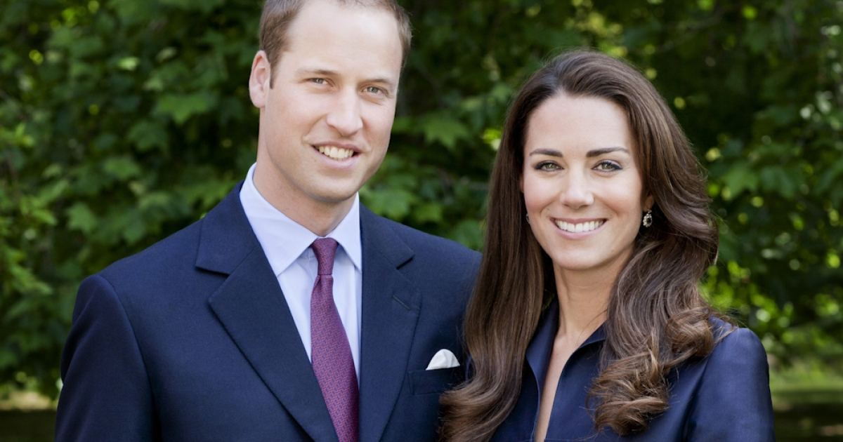 In this handout image, Prince William, Duke of Cambridge and Catherine, Duchess of Cambridge - better known as William and Kate - pose for the official tour portrait for their trip to Canada and California in the Garden's of Clarence House on June 3, 2011 in London. England. The newly married royal couple will be undertaking their first official joint tour to Canada and California from June 30. William and Kate's trip will begin with Canada Celebrations in Ottawa and include highlights such as the Calgary Stampede and a visit to Yellowknife.</p>