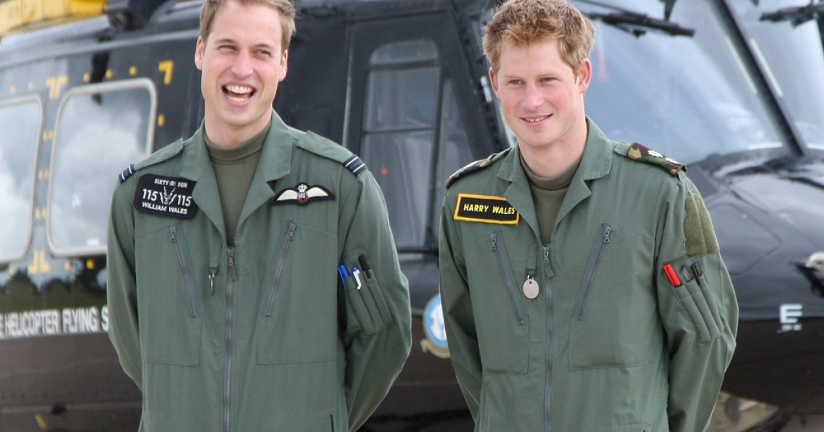 Prince Harry is reportedly fielding offers from Playgirl and male stripping review Chippendales after photos leaked from his nude Vegas romp. Here, Prince William and Prince Harry pose in front of a Griffin helicopter during a photocall at RAF Shawbury on June 18, 2009 in Shawbury, England.</p>