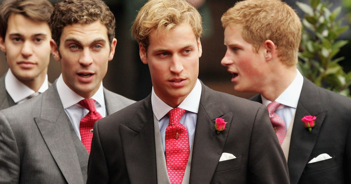 Princes Harry (R) and William (2nd from R) leave Chester Cathedral after the wedding of Lady Tamara Grovesnor on November 6, 2004 in Chester, England.</p>