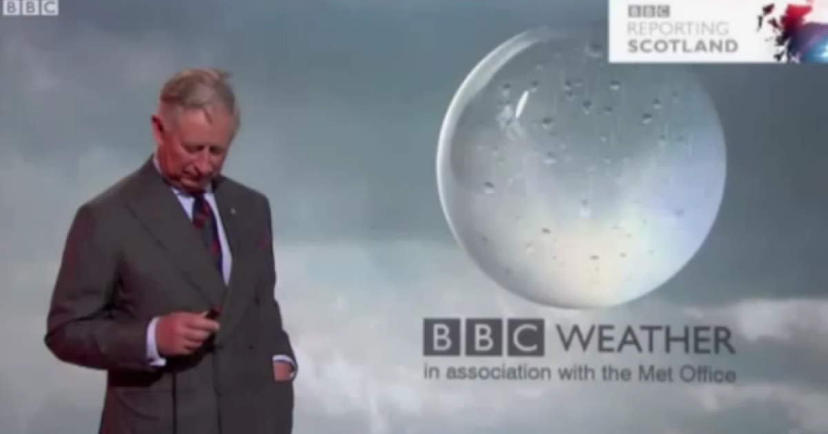 Prince Charles before delivering the weather on BBC Scotland.</p>