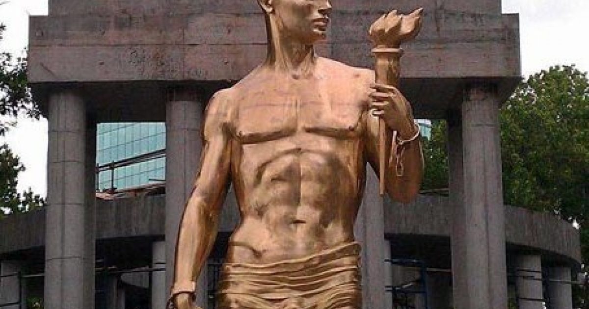 Prometheus statue in Skopje after cover up.</p>