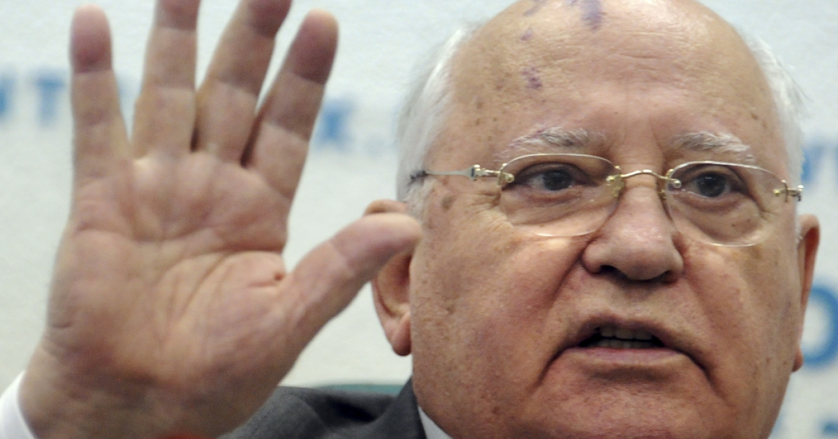 Soviet ex-president Mikhail Gorbachev speaks during a press conference in Moscow on August 17, 2011.</p>