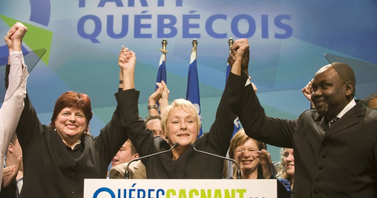 Pauline Marois, middle, is set to be Quebec's first female premier.</p>