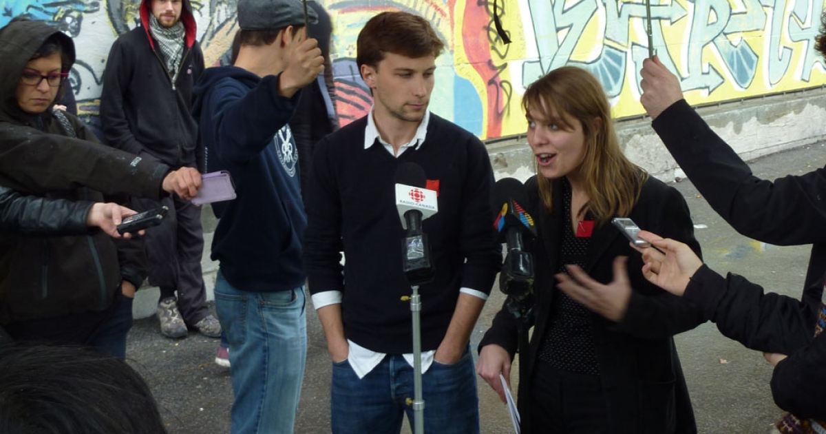 Student union leaders Gabriel Nadeau-Dubois, left, and Jeanne Reynolds speak with journalists in Montreal on May 10, 2012.</p>