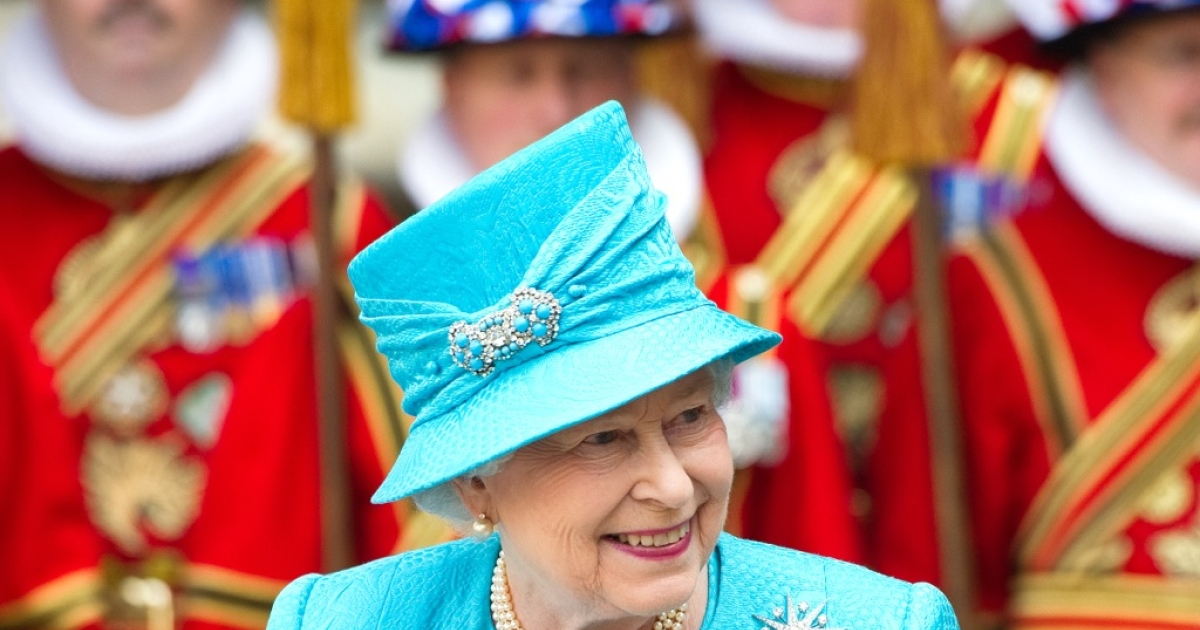 Queen Elizabeth II leaves Westminster Abbey in central London following the Royal Maundy Service on April 21, 2011.</p>