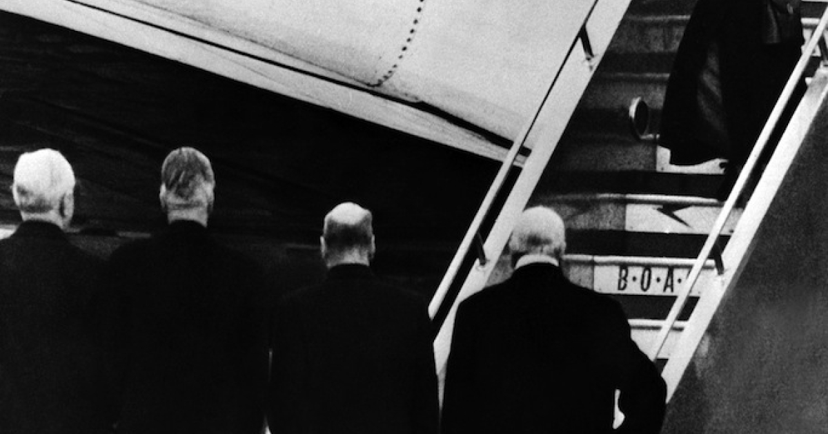 Queen Elizabeth II of England gets off plane, greeted by (from R to L) Sir Winston Churchill, Clement Attlee, Anthony Eden and Frederick James Marquis, 1st Earl of Woolton and Lord President of the Council on Feb. 8, 1952, as she returns from Kenya. Princess Elizabeth heard the news of her father's death while staying at Treetops, a Game Lodge, in Kenya.</p>