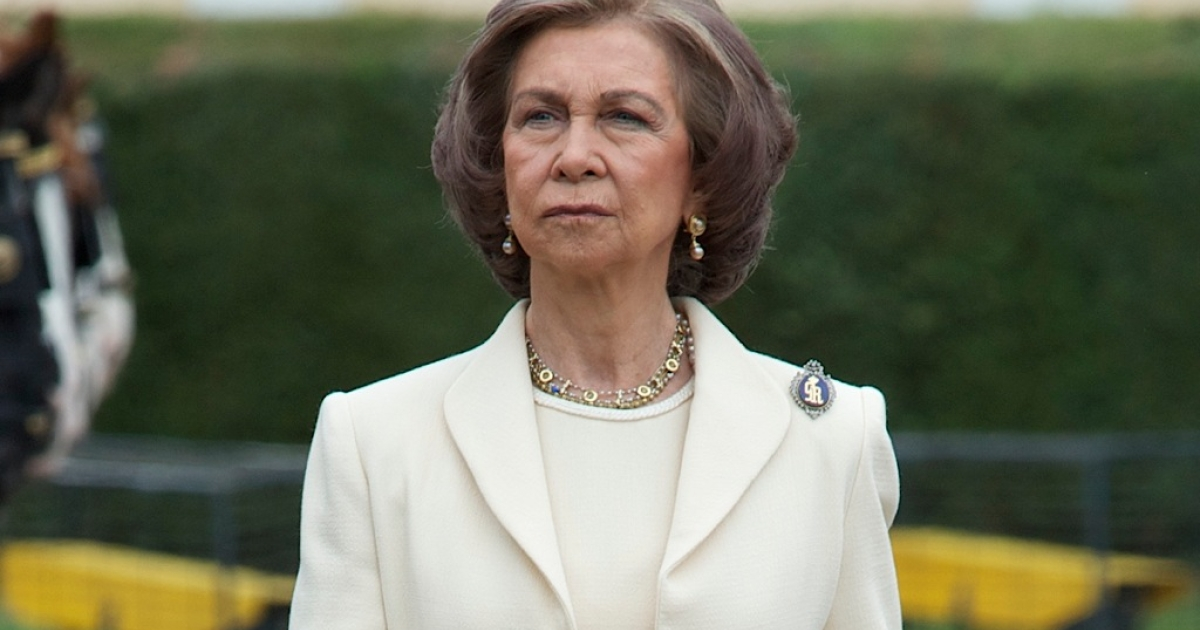 Queen Sofia of Spain attends the Oath of Allegiance of the Royal Guards at El Pardo Palace on May 4, 2012 in Madrid, Spain.</p>