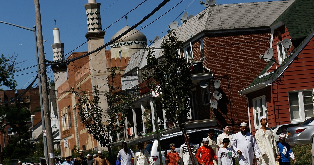New York Muslims leave the Jamaica Muslim Center in the Jamaica neighborhood of Queens after Friday prayers on Aug. 27, 2010.</p>