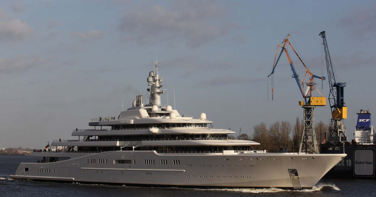 Mega yacht 'Eclipse' leaving the dock of shipyard Blohm + Voss on April 16, 2010 in Hamburg, Germany. The yacht is owned by Roman Abramovich.</p>