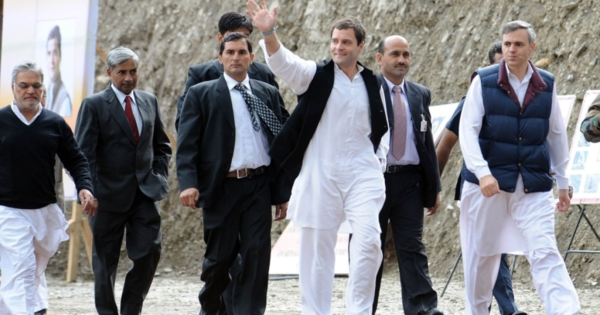 Rahul Gandhi waves as he arrives at Sonamarg, India on Oct. 4,2012.</p>