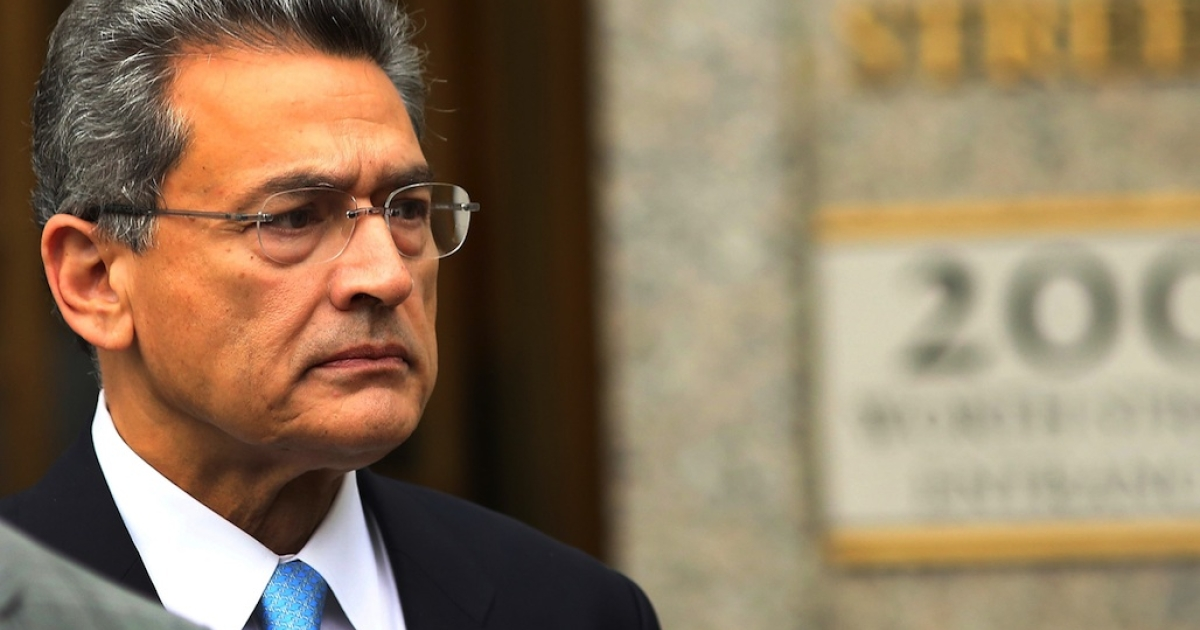 Rajat Gupta, former Goldman Sachs Inc. director and former senior partner at McKinsey &amp; Co., exits Federal court after being sentenced to two years in prison on Oct.r 24, 2012 in New York City. Gupta, 63, was convicted by a federal jury in June for leaking inside information to hedge-fund manager Raj Rajaratnam. He was also ordered to pay a $5 million fine.</p>