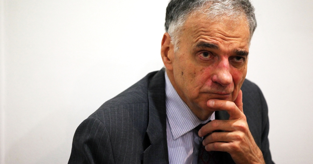 Former presidential candidate Ralph Nader listens during a news conference July 2, 2012 at Public Citizen in Washington, DC.</p>