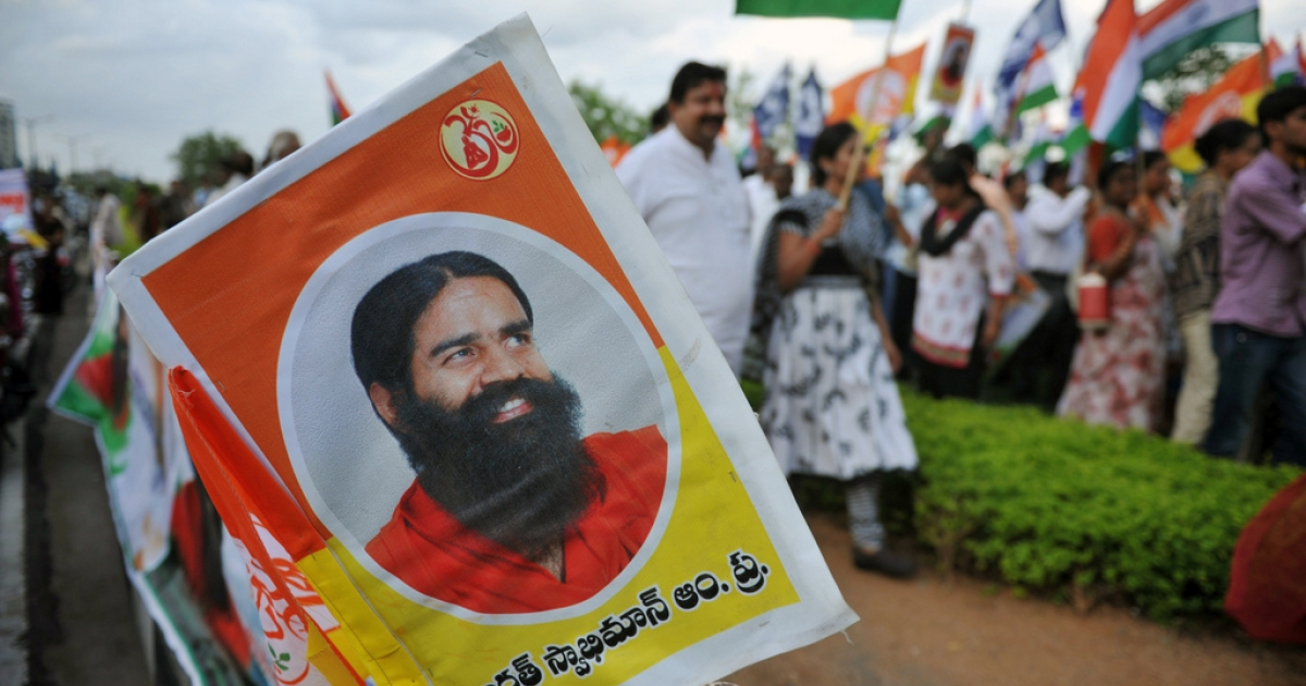 Members of Mahila Patanjali Yog Samithi and Bharath Swabhiman trust participate in a rally  in support of Indian spiritual guru Baba Ramdev's hunger strike in Hyderabad on June 11, 2011. An Indian yoga guru holding a hunger strike against corruption was hospitalised June 10 after not eating for nearly a week in a protest that has put pressure on the government. Swami Ramdev, whose popularity stems from his daily TV yoga shows, had continued fasting at his ashram near the holy city of Haridwar after baton-wielding police broke up his protest in New Delhi.</p>