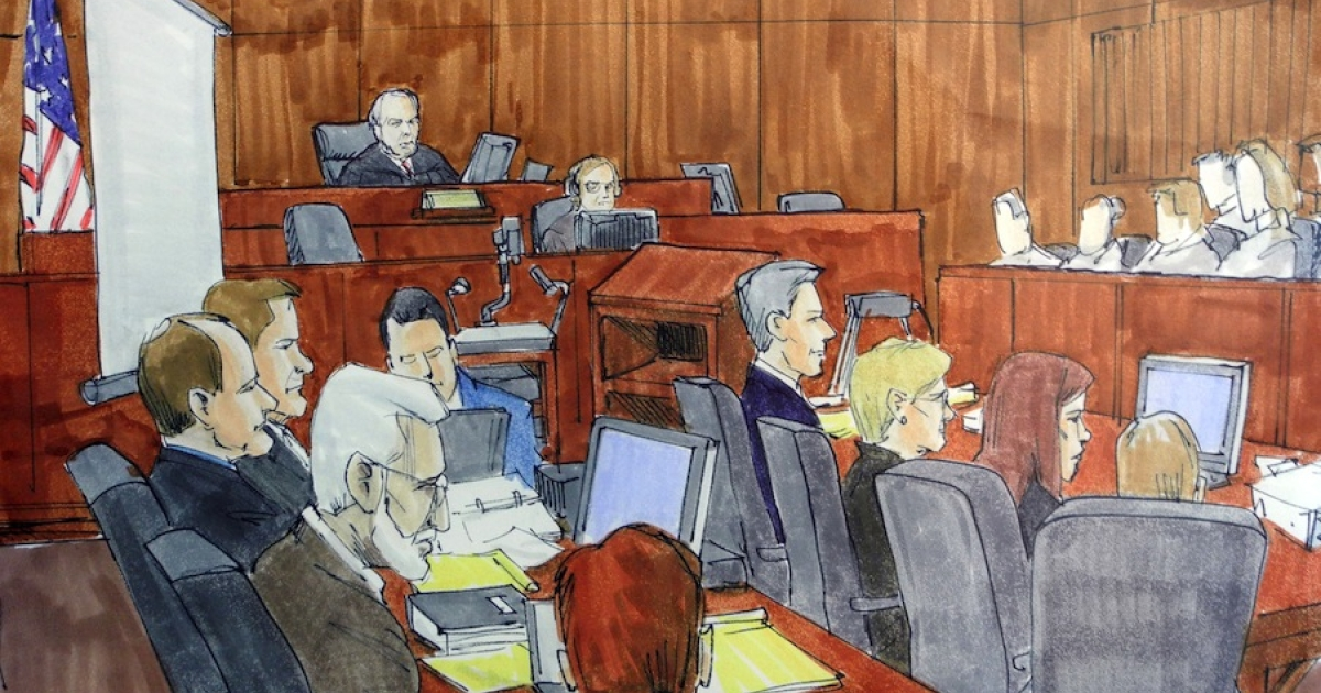 This courtroom drawing shows Tahawwur Rana (left, white hair) during closing arguments of his closely-watched terrorism trial in Chicago on June 7, 2011.</p>