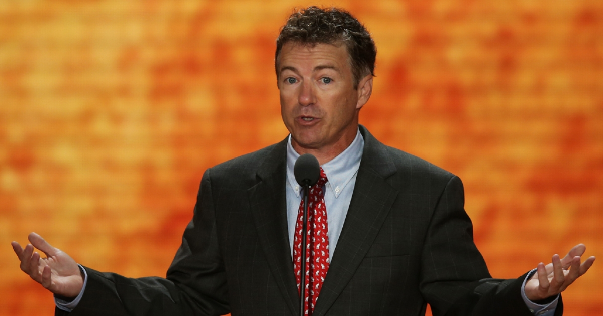 US Sen. Rand Paul (R-Ky.) speaks during the Republican National Convention at the Tampa Bay Times Forum on Aug. 29, 2012 in Tampa, Florida.</p>
