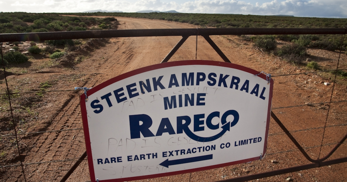 The entrance gate to Steenkampskraal mine, north of the town of Vanrhynsdorp in South Africa. The mine was abandoned in 1963, and is now being turned into a rare earths facility.</p>