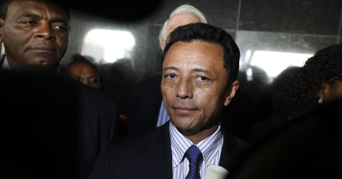 Madagascar's ousted leader Marc Ravalomanana addresses the press on Jan. 21, 2012, as he leaves O.R. Tambo international Airport in Johannesburg, after the island nation barred him from flying home to end his three-year exile.</p>