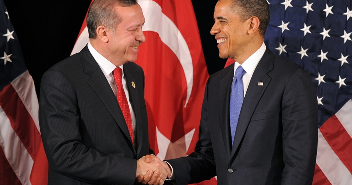 US President Barack Obama shakes hands with Turkish Prime Minister Recep Tayyip Erdogan after their bilateral meeting in Seoul on March 25, 2012 on the eve of the 2012 Seoul Nuclear Security Summit.</p>