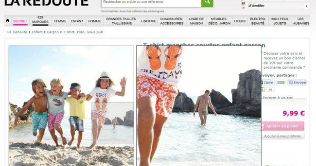 La Redoute's staffers failed to notice a naked man lingering in the background of this fashion shoot for children's beachwear.</p>