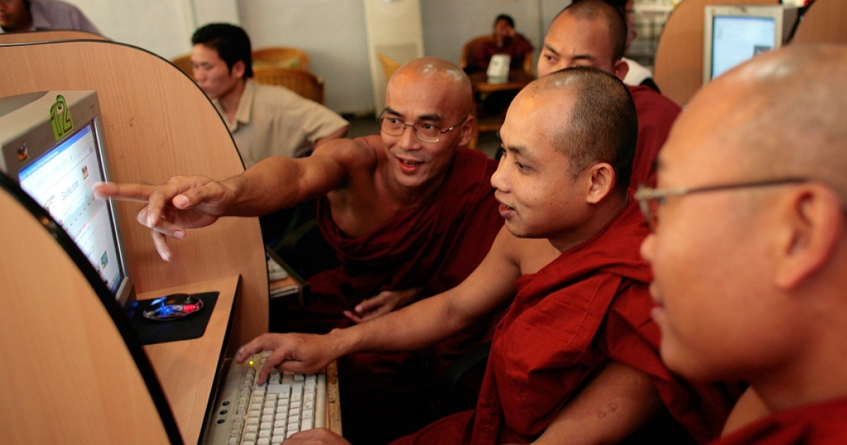 Burmese monks work on computers scanning Buddhist websites at a local internet cafe February 22, 2007 in Mandalay, Myanmar (Burma). The internet is strictly controlled by the government banning all free email services such as yahoo, hotmail and aol. With economic sanctions crippling the Burmese economy its people are eager for change and a better life. According to government experts who are working on a seven step road map to democracy, within the next few months the Draft Constitution will be finalized which will hopefully bring a Referendum for Constitution by the end of the year. After that a Democratic election will be held in 2008. According to the current scenario the change may happen soon but many say that Burmese will be afraid to vote with their heart but will cast their vote to prevent trouble.</p>
