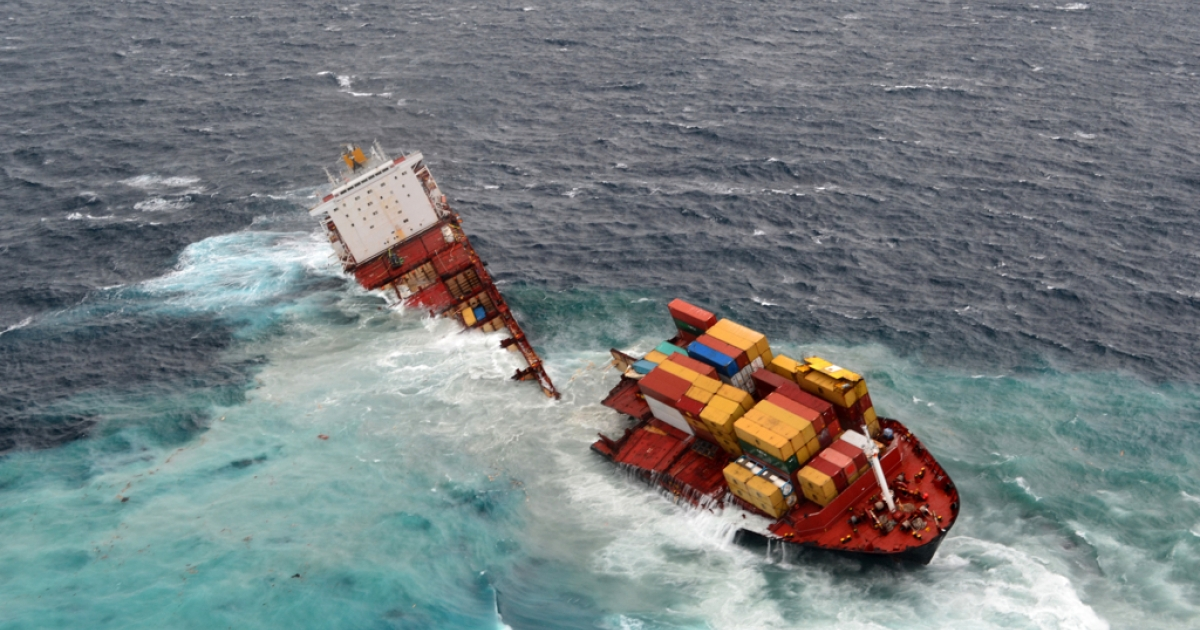 The Rena lies in two pieces after overnight bad weather pounded the vessel, on Jan. 8, 2012 in Tauranga, New Zealand.</p>