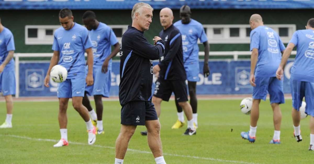 France's national football team coach Didier Deschamps (C) says he will not comment on the ongoing case.