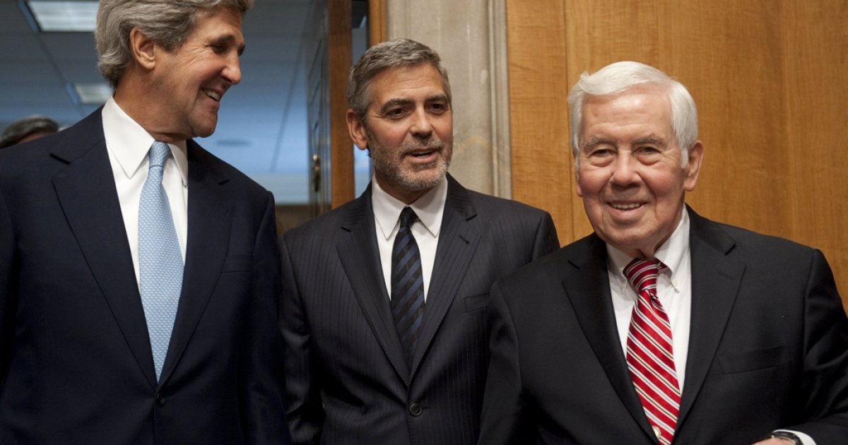 Senator Richard Lugar (R-Indiana) on the right, with George Clooney and Senator John Kerry (D-MA) on Capitol Hill in Washington, DC. Lugar was defeated in the Indiana primary by a tea party-backed challenger on May 8, 2012, after serving for more than 30 years in the Senate.</p>